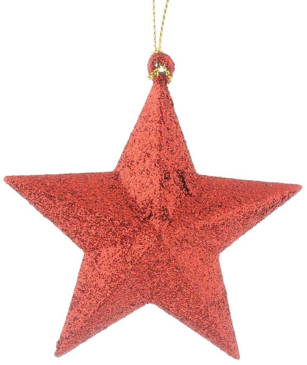 Украшение новогоднее подвесное Magic Time Звезда в красном глиттере, высота 9 см38734/75109Новогоднее подвесное украшение Magic Time Звезда в красном глиттере выполнено из полипропилена в виде объемной звезды и украшено блестками. С помощью специальной петельки украшение можно повесить в любом понравившемся вам месте. Но, конечно, удачнее всего оно будет смотреться на праздничной елке.Елочная игрушка - символ Нового года. Она несет в себе волшебство и красоту праздника. Создайте в своем доме атмосферу веселья и радости, украшая новогоднюю елку нарядными игрушками, которые будут из года в год накапливать теплоту воспоминаний.
