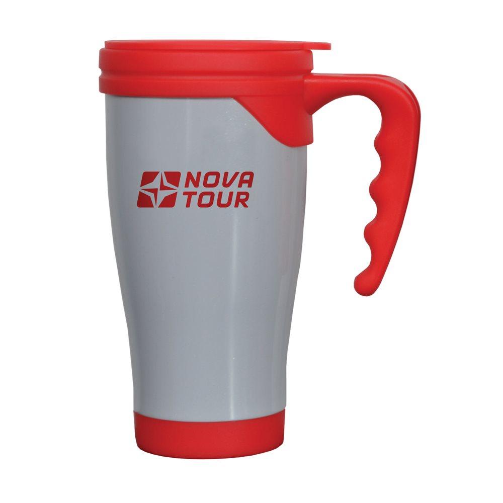 """Термокружка Nova Tour """"Сильвер"""", емкостью 0,4 л, выполненная из пищевой нержавеющей стали и пищевой пластмассы, с фиксирующимся клапаном для предотвращения проливания даже при тряске! Двойные стенки не дают возможности обжечься, при этом надолго сохраняя первоначальную температуру жидкости. Дно кружки имеет размер автомобильного подстаканника."""