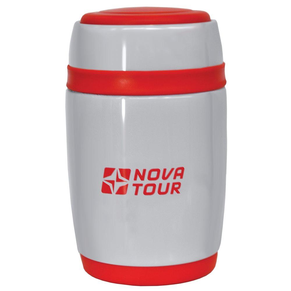 """Термос NOVA TOUR """"Ланч"""" предназначен для первых и вторых блюд. Он выполнен из пищевой нержавеющей стали. Имеет поворотный клапан - достаточно повернуть пробку на пол-оборота, чтобы налить содержимое из термоса. Клапан дает возможность при наливании не открывать термос целиком для меньшего охлаждения содержимого. Широкое горло дает возможность использовать термос для первых и вторых блюд."""