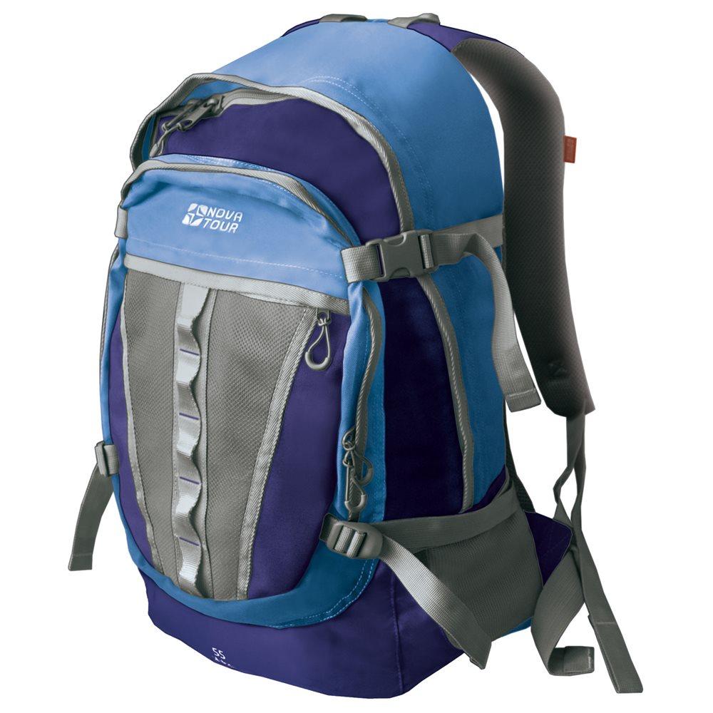 Рюкзак туристический NOVA TOUR Слалом V2, цвет: синий, голубой, 55 л95138-456-00Если все, что нужно ежедневно носить с собой, не помещается в обычный рюкзак, то NOVA TOUR Слалом V2 специально для вас. Два вместительных отделения можно уменьшить боковыми стяжками или наоборот, если что-то не поместилось внутри, навесить снаружи на узлы крепления. Для удобства переноски тяжелого груза, на спинке предусмотрена удобная система подушек Air Mesh с полностью отстегивающимся поясным ремнем. По бокам расположены небольшие карманы, спереди имеется карман на застежке-молнии.