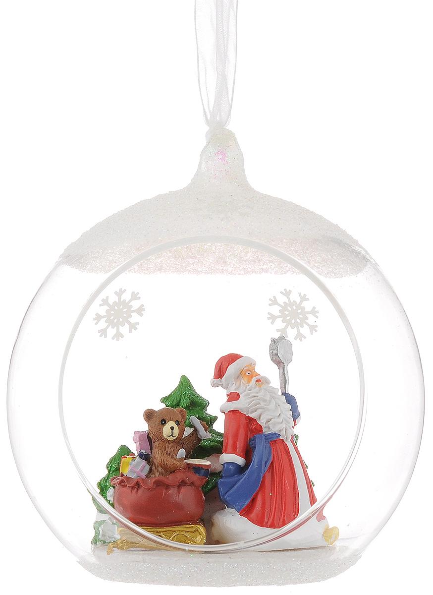 Украшение новогоднее подвесное Magic Time Дед мороз и медвежонок, с фигуркой внутри, диаметр 10 см украшение новогоднее magic time дед мороз и медвежонок со светодиодной подсветкой 12 x 8 x 3 см