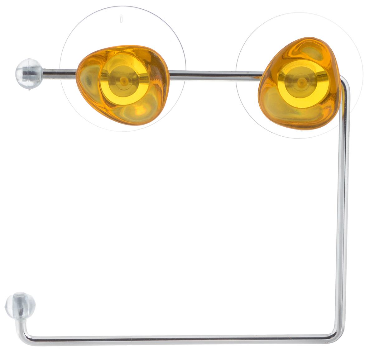 Держатель для туалетной бумаги Axentia Amica, на присосках, цвет: желтый, стальнойES-412Держатель для туалетной бумаги Axentia Amica изготовлен извысококачественной стали с хромированным покрытием,которое устойчиво квлажности и перепадам температуры.Держатель поможет оформить интерьер в выбранном стиле,разбавляяпространство туалетной комнаты различными элементами.Он хорошо впишется влюбой интерьер, придавая ему черты современности.Для большего удобства изделие крепится к поверхностям спомощью двухприсосок из поливинилхлорида (входят в комплект), что даетвозможность принеобходимости менять их месторасположение.Размер держателя: 14,5 х 12,5 х 4,5 см.Диаметр присоски: 5,5 см.