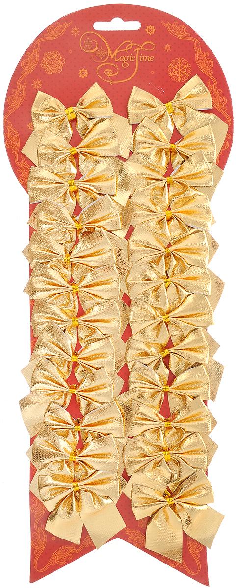 Набор новогодних украшений Magic Time Бант, цвет: золотистый, 24 шт. 4276041759Набор новогодних украшений Magic Time Бант прекрасно подойдет дляпраздничного декора новогодней ели. Набор состоит из 24 бантов,изготовленных из полиэстера. Для удобного размещения на елке с оборотнойстороны банты оснащены двумя проволоками.Коллекция декоративных украшений принесет в ваш дом ни с чем не сравнимоеощущение волшебства! Откройте для себя удивительный мир сказок и грез.Почувствуйте волшебные минуты ожидания праздника, создайте новогоднеенастроение вашим дорогим и близким.Размер украшения: 5 х 5 см.