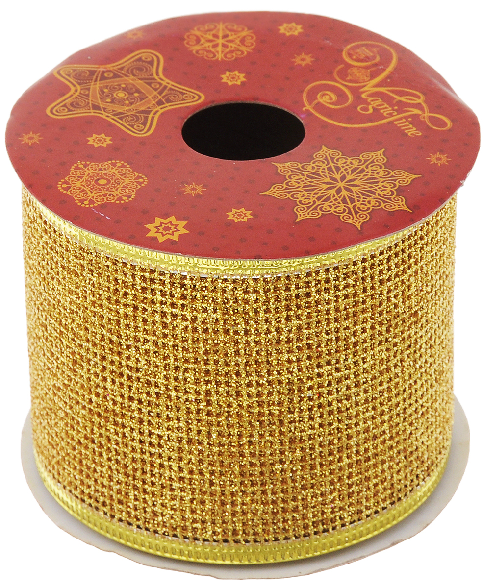 Лента новогодняя Magic Time Сетка, цвет: золотистый, 6,3 см х 2,7 м42813Декоративная лента Magic Time Сетка выполнена из полиэстера. В края ленты вставлена проволока, благодаря чему ее легко фиксировать. Она предназначена для оформления подарочных коробок, пакетов. Кроме того, декоративная лента с успехом применяется для художественного оформления витрин, праздничного оформления помещений, изготовления искусственных цветов. Декоративная лента украсит интерьер вашего дома к праздникам.Ширина ленты: 6,3 см.
