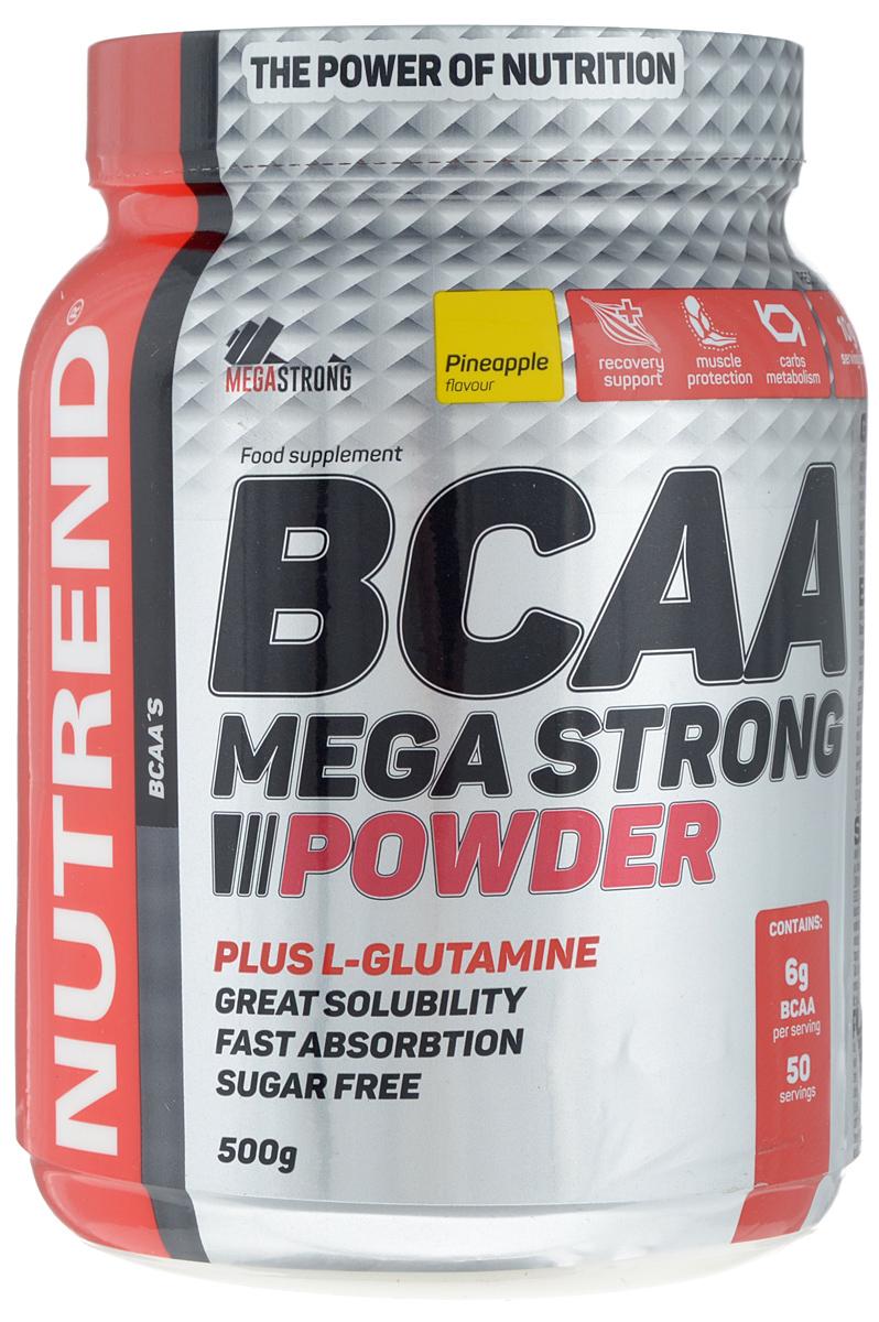 Комплекс аминокислотный Nutrend BCAA Mega Strong Powder, ананас, 500 гNTD6158Аминокислотный комплекс Nutrend BCAA Mega Strong Powder - это порошковый напиток с аминокислотами, углеводами и витаминами. Формула продукта обогащена L-глутамином, что способствует метаболизму мышечного белка и улучшает восстановление мышц. Продукт также поддерживает восстановление гликогена. Благодаря хорошей растворимости в воде обеспечивается максимально быстрое усвоение организмом. Аминокислотный комплекс предназначен для интенсивной подготовки спортсменов и быстрого восстановления мышц.Состав: L-лейцин, L-изолейцин, L-валин, эмульгатор - соевый лецитин, L-глутамин, регулятор кислотности - лимонная кислота, ароматизатор, подсластители - сукралоза и ацесульфам калия, предотвращающего слипания агенты - фосфат кальция и диоксид кремния, краситель - бета каротин.Питательная ценность (100 г): калорийность 329 ккал, жиры 0,4 г, насыщенные жирные кислоты 0 г, углеводы 4,1 г, сахар 0,2 г, клетчатка 0,1 г, белки 72,9 г, натрий хлор 0,1 г, L-лейцин 40000 мг,L-глютамин 27130 мг, L-изолейцин 10000 мг, L-валин 10000 мг.Рекомендации по применению: Начинайте прием за 15 минут до тренировки и продолжайте во время. Еще одну порцию сразу после тренировки. Противопоказания: индивидуальная непереносимость компонентов, беременность, кормление грудью. Перед применением рекомендуется проконсультироваться с врачом.Рекомендации по приготовлению: Растворить одну порцию (10 г) в 200 мл холодной воды.Как повысить эффективность тренировок с помощью спортивного питания? Статья OZON Гид