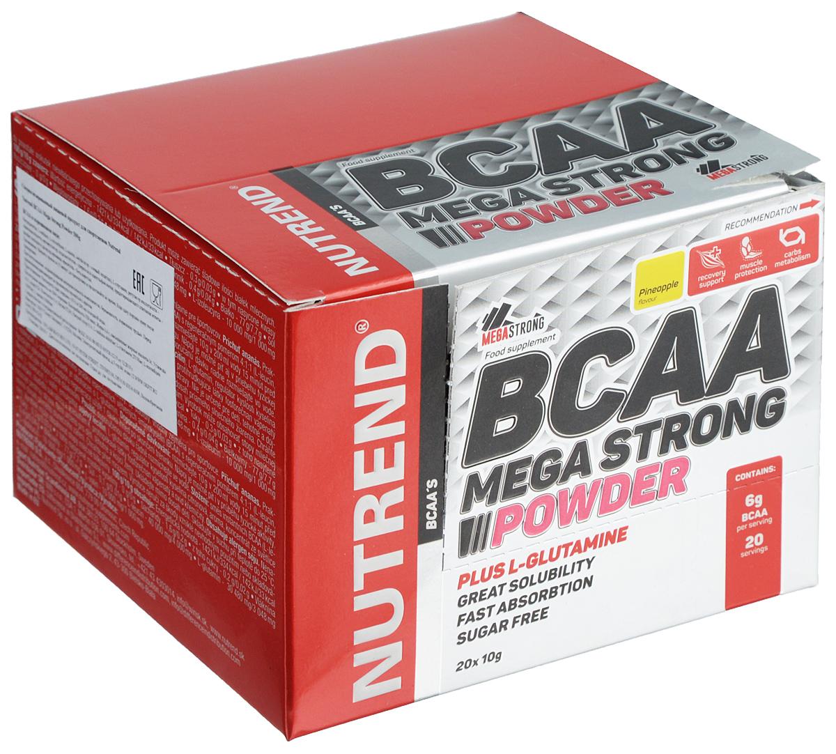Комплекс аминокислот Nutrend BCAA Mega Strong Powder, ананас, 20 x 10 г prolab bcaa prolab plus 180капс