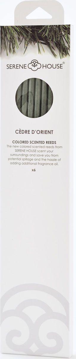 Палочки ароматические Serene House Восточный кедр, 6 шт152505018Ароматические палочки Serene House Восточный кедр изготовлены из спрессованной бумаги с использованием ароматических масел. Ониимеют мягкий свежий аромат на основе мускуса и древесных аккордов, включающий в себя зеленые ноты, которые перекликаются с цветочно- специевым звучанием.Палочкиработают по принципу сухого ароматизатора воздуха в помещении - их не нужно поджигать или помещать в ароматическую жидкость.Просто поставьте палочки в небольшую декоративную вазочку или другую емкость. Интенсивность аромата можно регулировать, изменяяколичество используемых одновременно палочек.Один комплект ароматизирует помещение площадью 15-18 кв.м. не менее 30 дней. Количество палочек в упаковке: 6 шт.