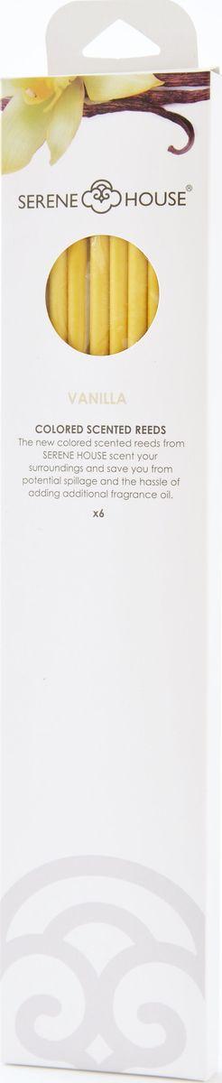 Палочки ароматические Serene House Мексиканская ваниль, 6 шт152505036Ароматические палочки Serene House Мексиканская ваниль изготовлены из спрессованной бумаги с использованием ароматических масел. Ваниль популярных пряностей в мире. Она хороша чистом виде. Ее аромат невероятно коммуникабелен - он легко впишется в любую обстановку, неизменно принося с собой тепло и уют.Палочкиработают по принципу сухого ароматизатора воздуха в помещении - их не нужно поджигать или помещать в ароматическую жидкость. Просто поставьте палочки в небольшую декоративную вазочку или другую емкость. Интенсивность аромата можно регулировать, изменяя количество используемых одновременно палочек. Один комплект ароматизирует помещение площадью 15-18 кв.м. не менее 30 дней.Количество палочек в упаковке: 6 шт.