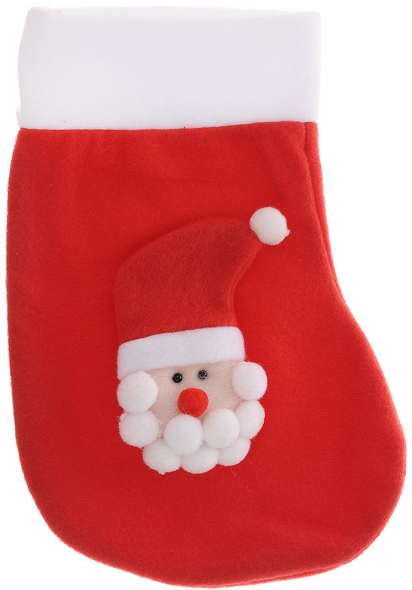 Украшение новогоднее подвесное Magic Time Дед Мороз в красном колпаке, 24,5 x 16,5 см42512Новогоднее украшение Magic Time Дед Мороз в красном колпаке прекрасно подойдет для праздничного декора вашего дома. Сувенир выполнен в виде носка из полиэстера. Он украшен аппликацией в Деда Мороза в колпаке. Изделие оснащено текстильной петелькой для подвешивания.Такая оригинальная фигурка оформит интерьер вашего дома или офиса в преддверии Нового года. Оригинальный дизайн и красочное исполнение создадут праздничное настроение. Кроме того, это отличный вариант подарка для ваших близких и друзей.