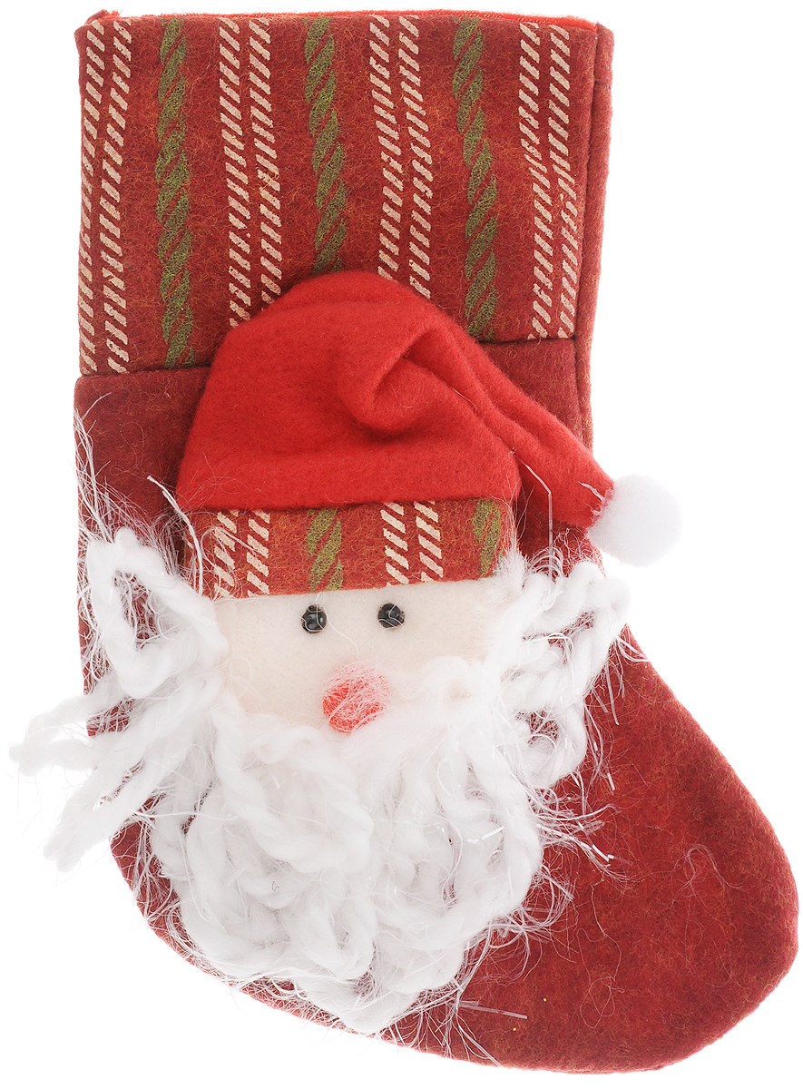Украшение новогоднее подвесное Magic Time Дед Мороз в колпаке, 18 x 12 см42534Новогоднее украшение Magic Time Дед Мороз в колпаке прекрасно подойдет для праздничного декора вашего дома. Сувенир выполнен в виде носка из полиэстера. Он украшен аппликацией в виде Деда Мороза в колпаке. Изделие оснащено текстильной петелькой для подвешивания.Такая оригинальная фигурка оформит интерьер вашего дома или офиса в преддверии Нового года. Оригинальный дизайн и красочное исполнение создадут праздничное настроение. Кроме того, это отличный вариант подарка для ваших близких и друзей.