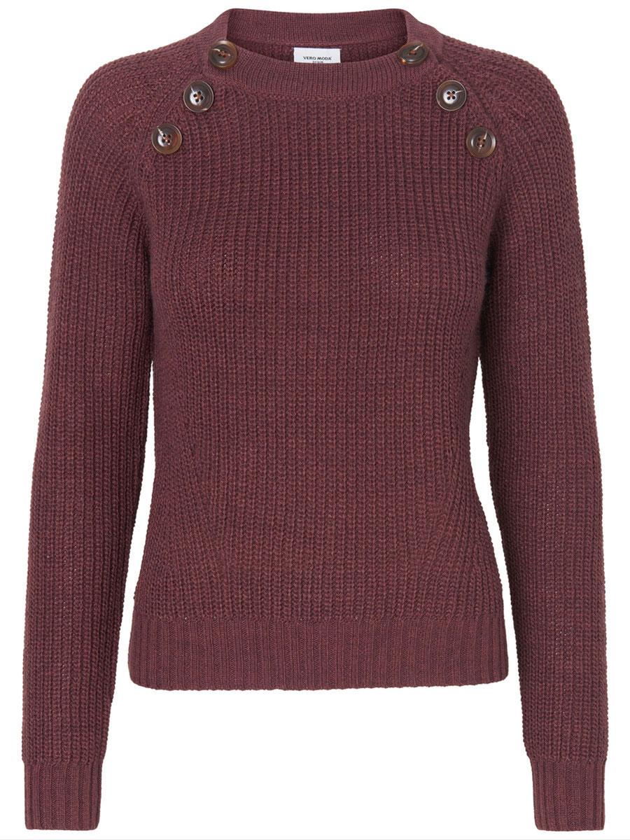 Джемпер женский Vero Moda Denim, цвет: бордовый. 10158010. Размер L (46) пуловер женский vero moda soon цвет серый 10162346 размер l 46