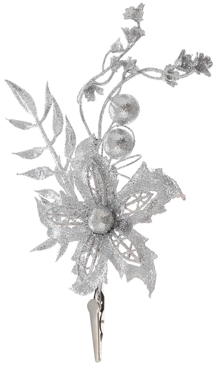 Украшение новогоднее Magic Time Цветок серебряный с веточкой, на клипсе, 9 x 18 см42499Новогоднее украшение Magic Time Цветок серебряный с веточкой отлично подойдет для декорации вашего дома и новогодней ели. Изделие выполнено из ПВХ и покрыто блестками. Для крепления предусмотрена металлическая клипса.Елочная игрушка - символ Нового года. Она несет в себе волшебство и красоту праздника. Создайте в своем доме атмосферу веселья и радости, украшая всей семьей новогоднюю елку нарядными игрушками, которые будут из года в год накапливать теплоту воспоминаний.