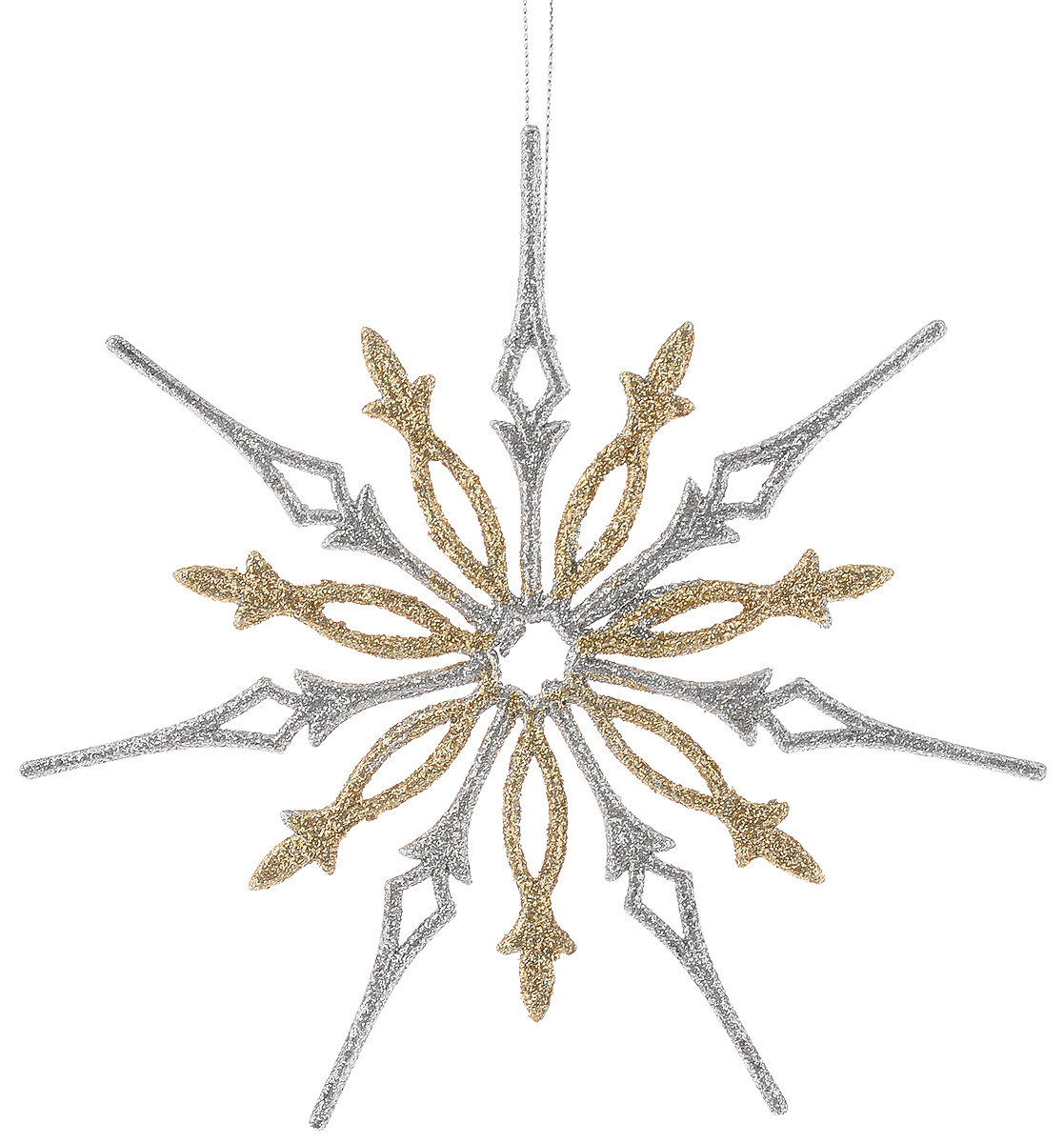 Украшение новогоднее подвесное Magic Time Снежинка в бело-золотом глиттере, диаметр 18 см38719Новогоднее украшение Magic Time Снежинка в бело-золотом глиттере отлично подойдет для декорации вашего дома и новогодней ели. Изделие, выполненное из пластика, декорировано серебристым и золотистым глиттером и оснащено специальной петелькой для подвешивания.Елочная игрушка - символ Нового года. Она несет в себе волшебство и красоту праздника. Создайте в своем доме атмосферу веселья и радости, украшая всей семьей новогоднюю елку нарядными игрушками, которые будут из года в год накапливать теплоту воспоминаний.