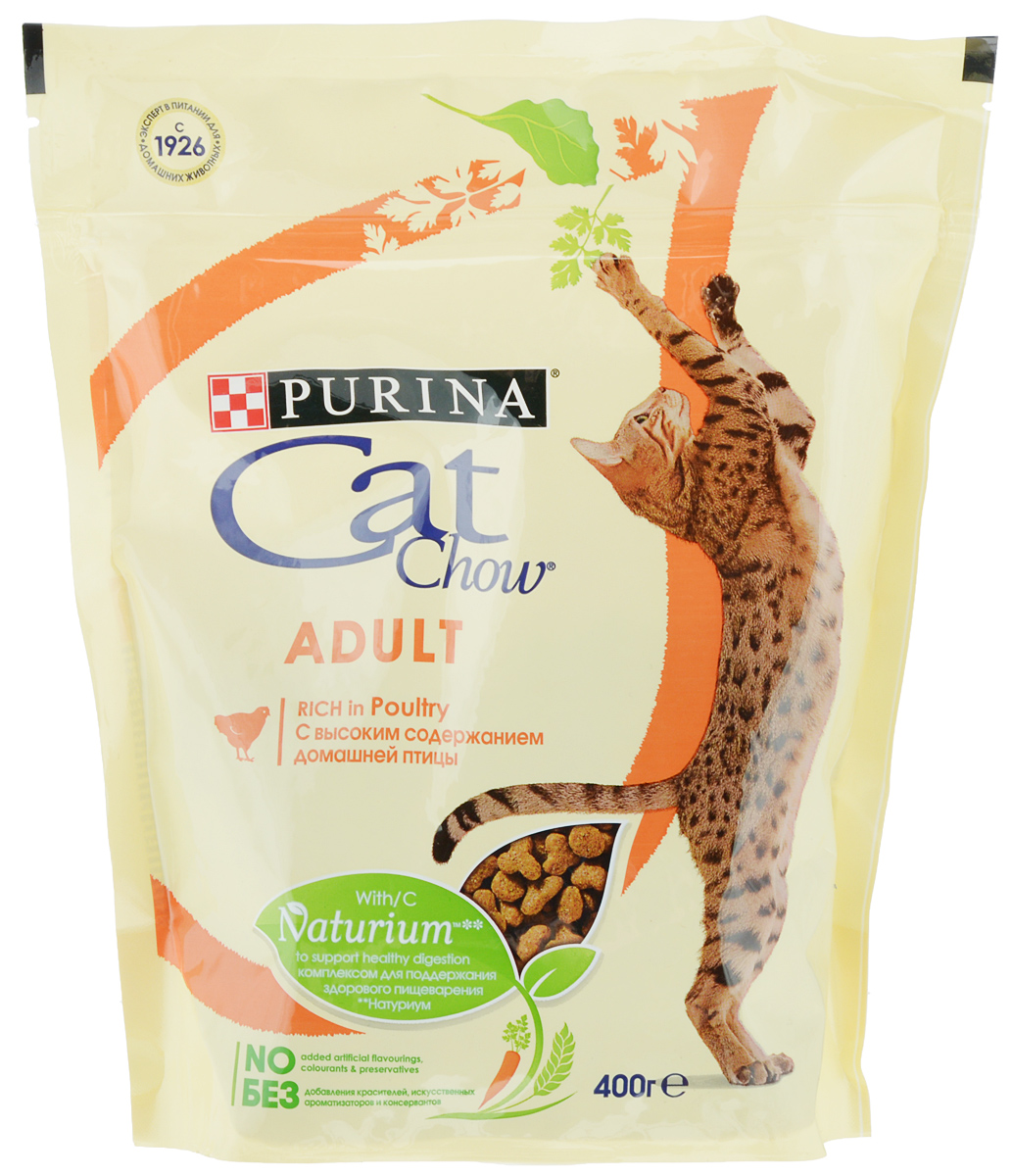 Корм сухой Cat Chow, для взрослых кошек, с домашней птицей, 400 г12292072Сухой корм Cat Chow - это особое сочетание волокон природного происхождения. Он включает источник натурального пребиотика, который улучшает баланс микрофлоры кишечника и поддерживает здоровье пищеварительной системы кошки. Это позволяет ей питаться с большей пользой. В состав корма входит витамин E для поддержания естественной защиты организма кошки и витаминами группы B, чтобы помочь вашей кошке оптимально использовать энергию. Корм тщательно разработан: без добавления искусственных консервантов и ароматизаторов, без добавления красителейТовар сертифицирован.