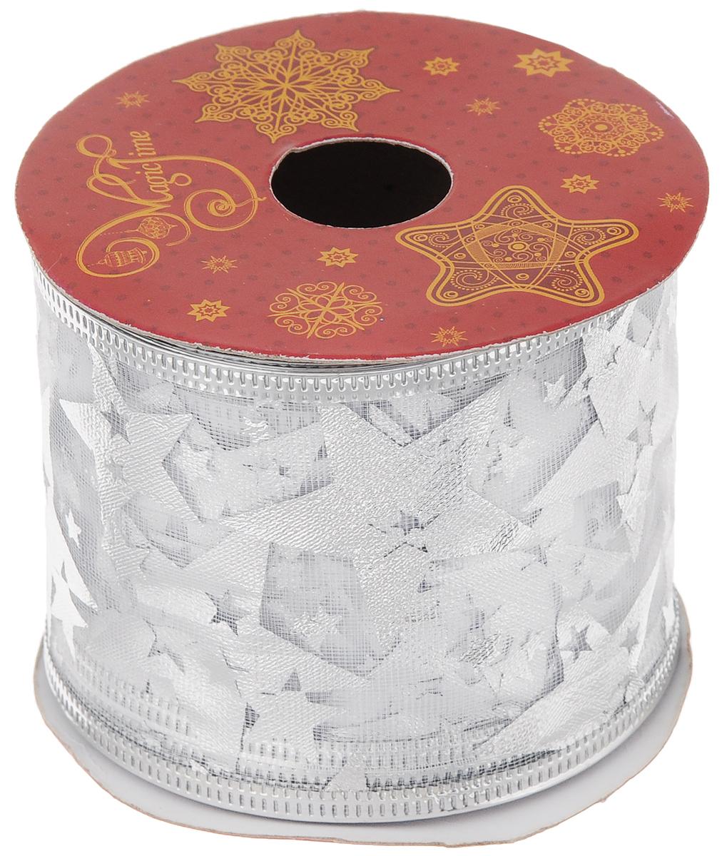 Лента новогодняя Magic Time Звезды, 6,3 см х 2,7 м42809/76228Новогодняя декоративная лента Magic Time Звезды выполненаиз полиэстера. Вкрая ленты вставлена проволока, благодаря чему еелегко фиксировать. Она предназначена для оформления подарочных коробок,пакетов. Кроме того, декоративная лента с успехом применяется дляхудожественного оформления витрин, праздничногооформления помещений, изготовления искусственных цветов.Декоративная лента украсит интерьер вашего дома к праздникам.Ширина ленты: 6,3 см.