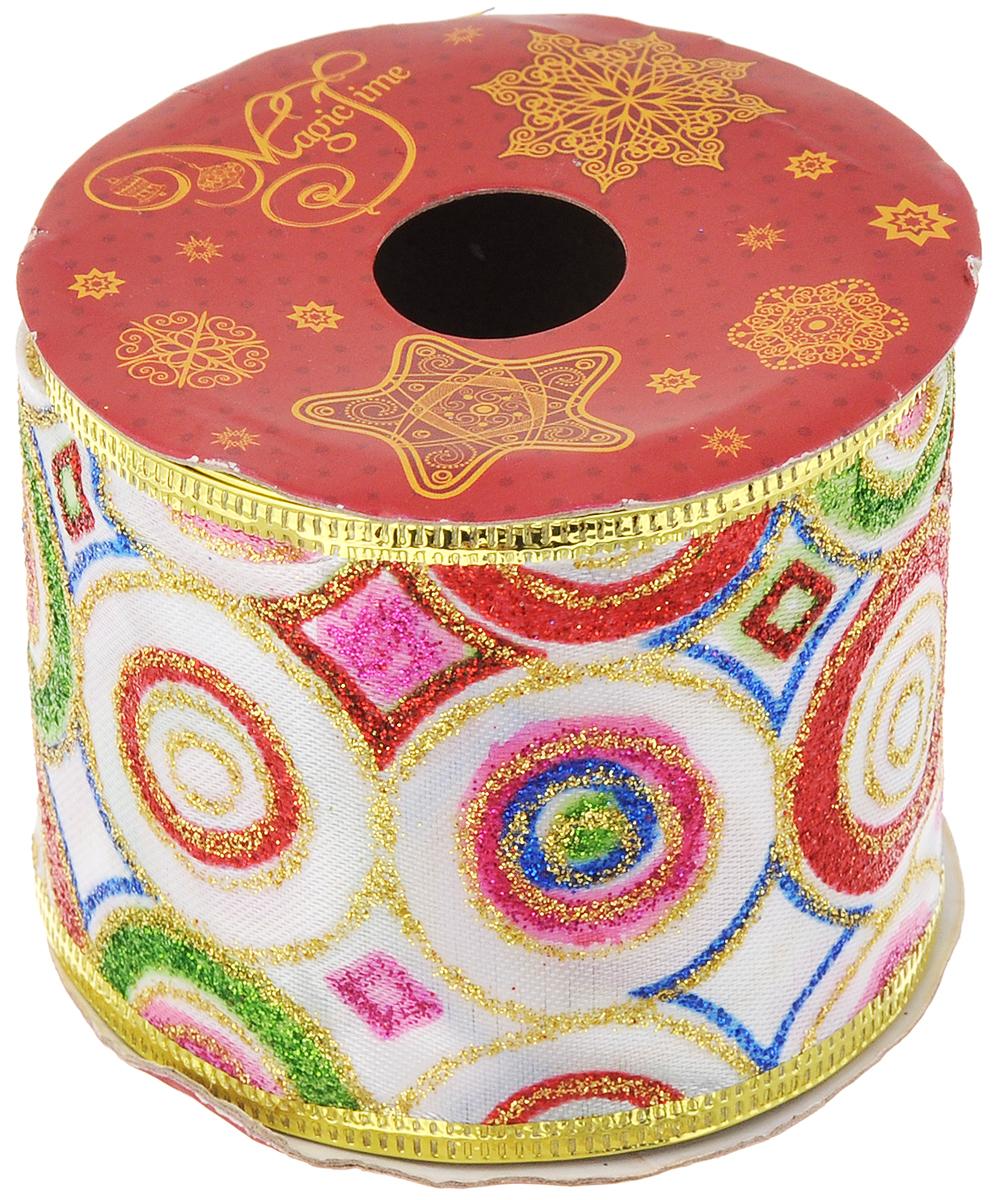 Лента новогодняя Magic Time Яркий праздник, 6,3 см х 2,7 м42825Новогодняя декоративная лента Magic Time Яркий праздник выполненаиз полиэстера и украшена блестками. Вкрая ленты вставлена проволока, благодаря чему еелегко фиксировать. Она предназначена для оформления подарочных коробок,пакетов. Кроме того, декоративная лента с успехом применяется дляхудожественного оформления витрин, праздничногооформления помещений, изготовления искусственных цветов.Декоративная лента украсит интерьер вашего дома к праздникам.Ширина ленты: 6,3 см.