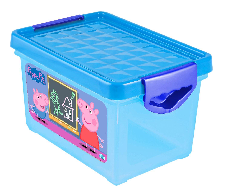 Ящик для хранения мелочей Little Angel Свинка Пеппа, детский, цвет: голубой, 5,1 л little angel мусорная корзина круглая 7 л city cars little angel голубой
