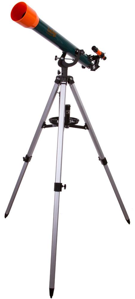 Levenhuk LabZZ T3 телескопT3 60x700Levenhuk LabZZ T3 - детский телескоп со взрослыми возможностями. Его увеличение достигает 175 крат, что позволяет исследовать множество астрономических объектов во всех деталях. А управление настолько простое, что с ним справится даже совсем юный исследователь космоса. Все необходимые аксессуары для наблюдений уже включены в комплект поставки.Телескоп познакомит юного астронома с космосом и сможет показать ему планеты Солнечной системы, Луну, далекие галактики и загадочные туманности. С помощью диагонального зеркала и оборачивающего окуляра маленький исследователь сможет переключиться на изучение наземных объектов. Оба аксессуара правильно ориентируют изображение телескопа, а оборачивающий окуляр еще и увеличивает его кратность. Линза Барлоу также усиливает оптические возможности телескопа.Азимутальная монтировка, на которую установлен телескоп, легка в управлении. Ребенок освоится с ней всего за несколько минут. Алюминиевая тренога устойчива и надежна, а высоту ее ножек можно регулировать. На треногу можно установить удобный лоток для аксессуаров.Светосила (относительное отверстие): f11/7Посадочный диаметр окуляров: 0,96 дюймовАлюминиевая треногаВысота треноги: 75-120 мм