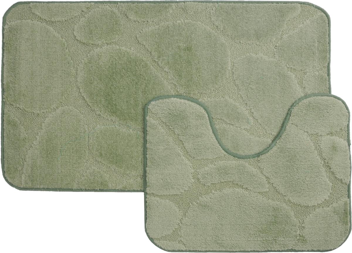 Набор ковриков для ванной MAC Carpet  Рома. Камни , цвет: светло-зеленый, 60 х 100 см, 50 х 60 см, 2 шт - Коврики