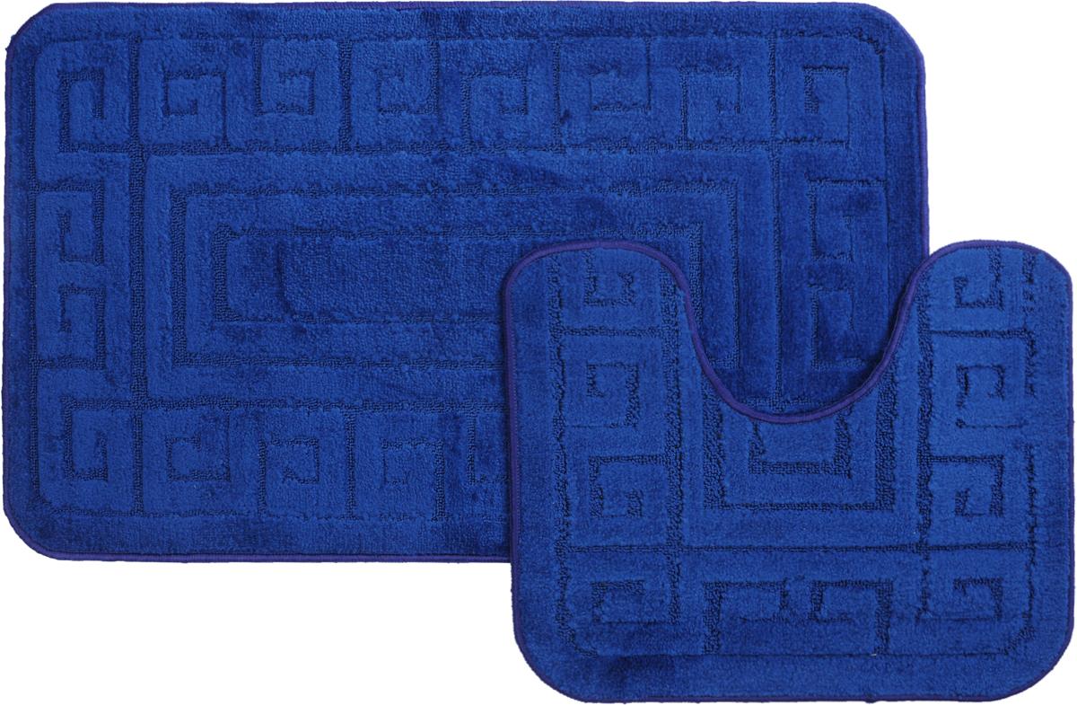 Набор ковриков для ванной MAC Carpet Рома. Версаче, цвет: темно-синий, 60 х 100 см, 50 х 60 см, 2 шт21871Набор MAC Carpet Рома. Версаче, выполненный из полипропилена, состоит из двух ковриков для ванной комнаты, один из которых имеет вырез под унитаз. Противоскользящее основание изготовлено из термопластичной резины. Коврики мягкие и приятные на ощупь, отлично впитывают влагу и быстро сохнут. Высокая износостойкость ковриков и стойкость цвета позволит вам наслаждаться покупкой долгие годы. Можно стирать вручную или в стиральной машине на деликатном режиме при температуре 30°С.