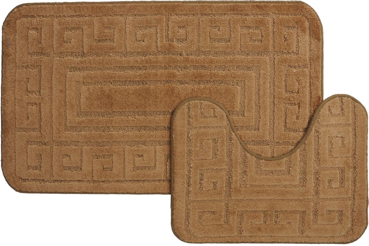 Набор ковриков для ванной MAC Carpet Рома. Версаче, цвет: коричневый, 60 х 100 см, 50 х 60 см, 2 шт21851Набор MAC Carpet Рома. Версаче, выполненный из полипропилена, состоит из двух ковриков для ванной комнаты, один из которых имеет вырез под унитаз. Противоскользящее основание изготовлено из термопластичной резины. Коврики мягкие и приятные на ощупь, отлично впитывают влагу и быстро сохнут. Высокая износостойкость ковриков и стойкость цвета позволит вам наслаждаться покупкой долгие годы. Можно стирать вручную или в стиральной машине на деликатном режиме при температуре 30°С.