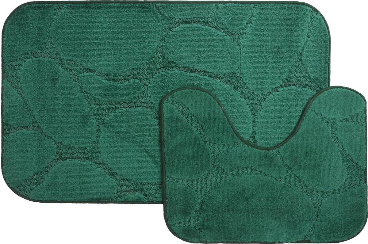 Набор ковриков для ванной MAC Carpet  Рома. Камни , цвет: темно-зеленый, 60 х 100 см, 50 х 60 см, 2 шт - Коврики