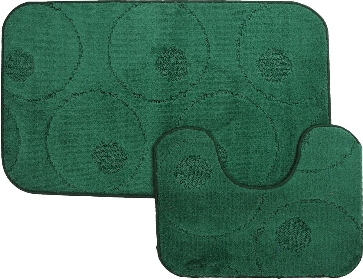"""Набор MAC Carpet """"Рома. Круги"""", выполненный из полипропилена, состоит из двух ковриков для ванной комнаты, один из которых имеет вырез под унитаз. Противоскользящее основание изготовлено из термопластичной резины. Коврики мягкие и приятные на ощупь, отлично впитывают влагу и быстро сохнут. Высокая износостойкость ковриков и стойкость цвета позволит вам наслаждаться покупкой долгие годы. Можно стирать вручную или в стиральной машине на деликатном режиме при температуре 30°С.тиральной машине на деликатном режиме при температуре 30°С."""