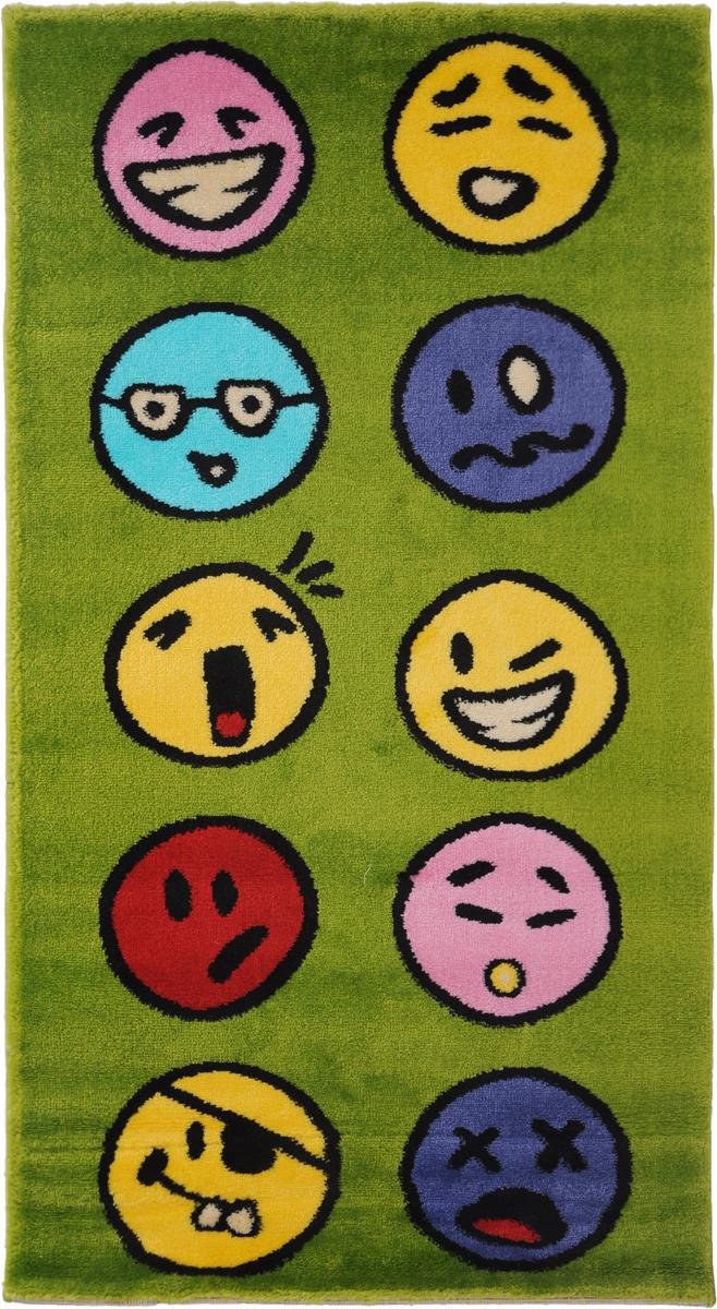 Ковер детский Kamalak Tekstil Emoji, прямоугольный, 60 x 110 смУКД-2030Детский ковер Kamalak Tekstil Emoji изготовлен из высококачественного полипропилена.Полипропилен износостоек, нетоксичен, не впитывает влагу, не провоцирует аллергию. Структура волокна в полипропиленовых коврах гладкая, поэтому грязь не будет въедаться и скапливаться на ворсе. Практичный и износоустойчивый ворс не истирается и не накапливает статическое электричество. Ковер обладает хорошими показателями теплостойкости и шумоизоляции. Оригинальный рисунок позволит гармонично оформить интерьер детской комнаты. За счет невысокого ворса ковер легко чистить. При надлежащем уходе синтетический ковер прослужит долго, не утратив ни яркости узора, ни блеска ворса, ни упругости. Самый простой способ избавить изделие от грязи - пропылесосить его с обеих сторон (лицевой и изнаночной). Влажная уборка с применением шампуней и моющих средств не противопоказана. Хранить рекомендуется в свернутом рулоном виде.