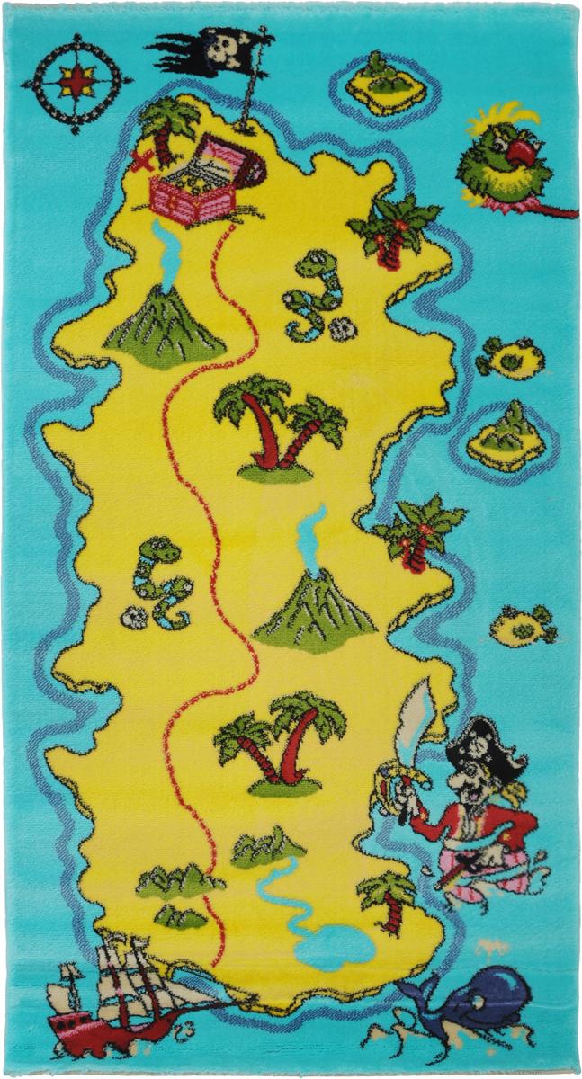 """Детский ковер Kamalak Tekstil """"Остров сокровищ"""" изготовлен из высококачественного  полипропилена.   Полипропилен износостоек, нетоксичен, не впитывает влагу, не провоцирует аллергию. Структура  волокна в полипропиленовых коврах гладкая, поэтому грязь не будет въедаться и скапливаться  на ворсе. Практичный и износоустойчивый ворс не истирается и не накапливает статическое  электричество.  Ковер обладает хорошими показателями теплостойкости и шумоизоляции. Оригинальный рисунок  позволит гармонично оформить интерьер детской комнаты.  За счет невысокого ворса ковер легко чистить. При надлежащем уходе синтетический ковер  прослужит долго, не утратив ни яркости узора, ни блеска ворса, ни упругости.  Самый простой способ избавить изделие от грязи - пропылесосить его с обеих сторон (лицевой и  изнаночной). Влажная уборка с применением шампуней и моющих средств не противопоказана.   Хранить рекомендуется в свернутом рулоном виде."""