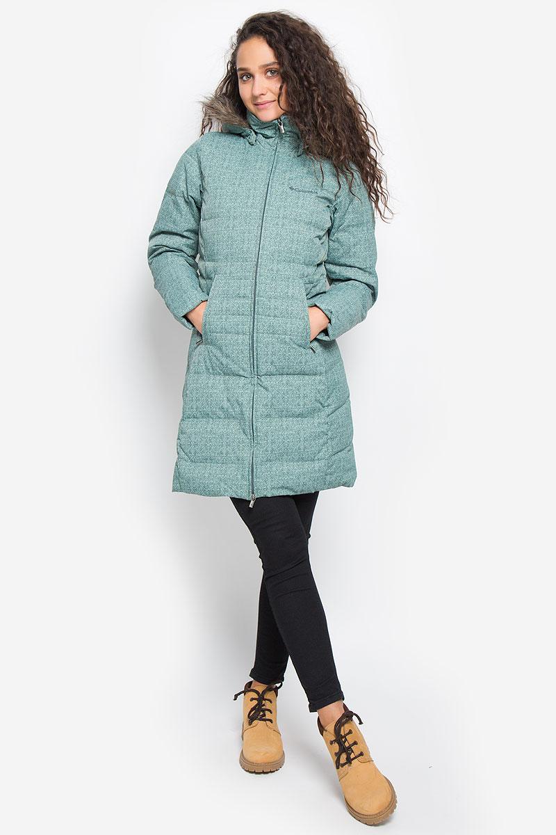 Пуховик женский Columbia Varaluck III Mid Jacket down short coat, цвет: серо-зеленый. 465651-967. Размер XL (50)
