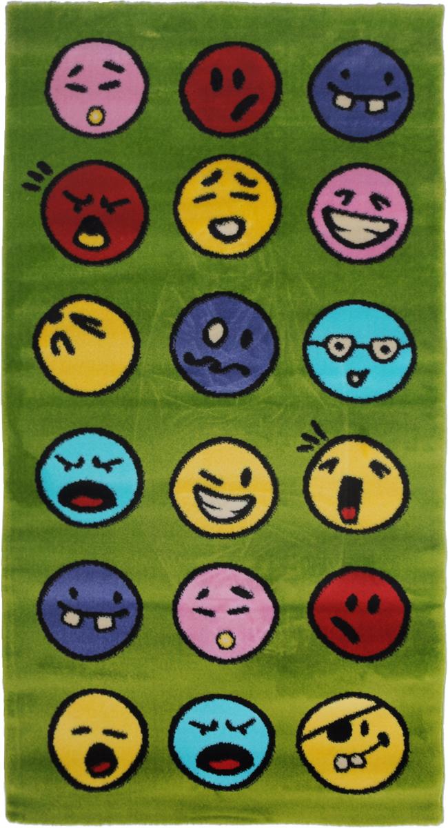 Ковер детский Kamalak Tekstil Emoji, прямоугольный, 80 x 150 смУКД-2029Детский ковер Kamalak Tekstil Emoji изготовлен из высококачественного полипропилена.Полипропилен износостоек, нетоксичен, не впитывает влагу, не провоцирует аллергию. Структура волокна в полипропиленовых коврах гладкая, поэтому грязь не будет въедаться и скапливаться на ворсе. Практичный и износоустойчивый ворс не истирается и не накапливает статическое электричество. Ковер обладает хорошими показателями теплостойкости и шумоизоляции. Оригинальный рисунок позволит гармонично оформить интерьер детской комнаты. За счет невысокого ворса ковер легко чистить. При надлежащем уходе синтетический ковер прослужит долго, не утратив ни яркости узора, ни блеска ворса, ни упругости. Самый простой способ избавить изделие от грязи - пропылесосить его с обеих сторон (лицевой и изнаночной). Влажная уборка с применением шампуней и моющих средств не противопоказана. Хранить рекомендуется в свернутом рулоном виде.