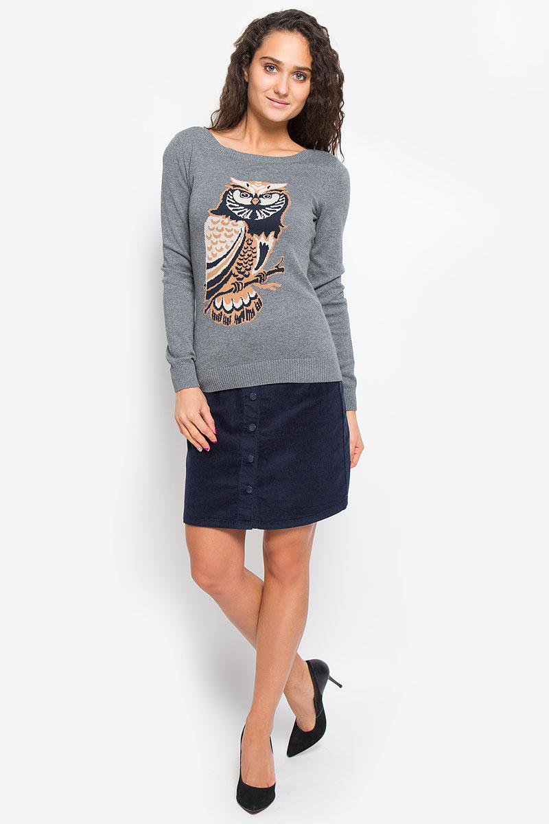 Купить Джемпер женский Sela Casual, цвет: серый. JR-114/1296-6434. Размер S (44)