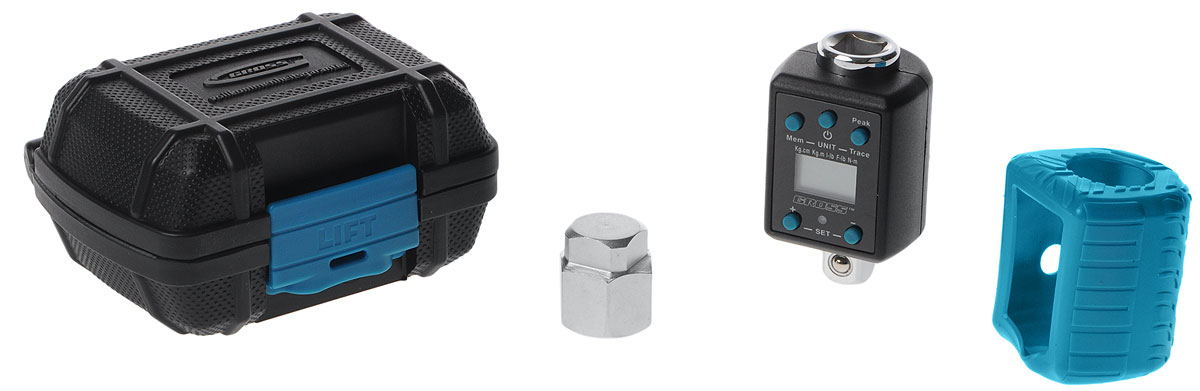 Ключ-адаптер динамометрический Gross14164Электронный динамометрический ключ Gross предназначен для затяжки резьбовых соединений с контролем затяжки крутящего момента в диапазоне 40-200 Н/м. В качестве переходника используется присоединительный квадрат из хромованадиевой стали размером 1/2. Жидкокристаллический дисплей, расположенный на лицевой стороне инструмента, а также наличие световой и звуковой сигнализации позволяют отслеживать уровень затяжки в реальном времени. Вывод данных на дисплей предусмотрен в следующих единицах измерения: кг/см, кг/м, фунт/дюйм, фунт/фут. В качестве элемента питания в электронном ключе используется литиевая батарея типа СR2032. Время непрерывной работы батареи составляет 55 часов. Для предотвращения чрезмерного разряда батареи при неиспользовании адаптера свыше 80 секунд происходит автовыключение электроники.Ключ оснащен мягким чехлом и пластиковым кейсом для транспортировки и хранения. Погрешность: +/-2%. Память: 50. Разрешение экрана: 0,1. Диапазон измерений: 40-200 Н/м. Присоединительный квадрат: 1/2. Рабочий режим: сигнал/отслеживание. Вес: 183 г. Время непрерывной работы аккумулятора: 55 ч. Допустимая температура воздуха при работе: от -10°С до +60°С. Допустимая температура воздуха при хранении: от -20°С до +70°С. Допустимая относительная влажность для работы: 15-90% неконденсирующаяся. Автовыключение (при неиспользовании адаптера): 80 сек.