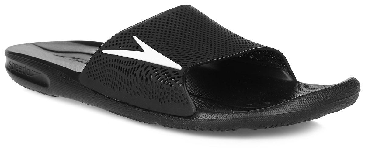 Шлепанцы мужские Speedo Atami II Max Am, цвет: черный. 8-090603503-3503. Размер 10 (44,5)8-090603503-3503Комфортные мужские шлепанцы от Speedo Atami II Max Am не оставят вас равнодушным. Верх изделия выполнен из термополиуретана и оформлен логотипом бренда и перфорацией, благодаря которой быстро удаляется влага и обеспечивается дополнительная вентиляция. Подошва выполнена из материала ЭВА, который имеет пористую структуру, обладает великолепными теплоизоляционными и морозостойкими свойствами, 100% водонепроницаемостью, придает обуви амортизационные свойства, мягкость при ходьбе, устойчивость к истиранию подошвы. Текстильная подкладка предотвратит натирание. Специальный рисунок подошвы как с внутренней, так и с внешней сторон, гарантирует оптимальное сцепление при ходьбе как по сухой, так и по влажной поверхности. Модные шлепанцы покорят вас своим дизайном и удобством!