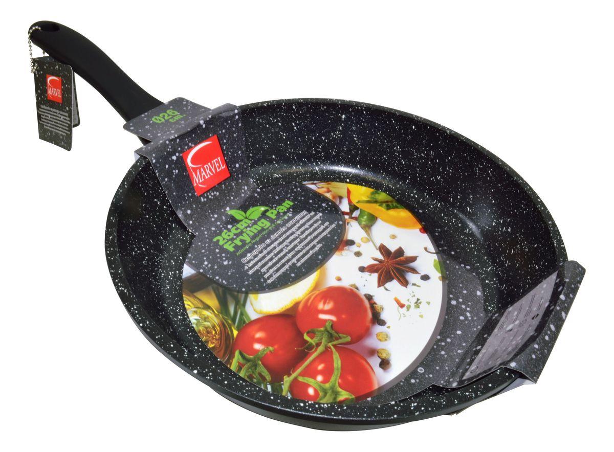 Сковорода Marvel Greblon Non-Stick, с антипригарным покрытием. Диаметр 26 см43264Сковорода Marvel Greblon Non-Stick выполнена из алюминия с антипригарным покрытием. Такое покрытие исключает прилипание и пригорание пищи к поверхности посуды, обеспечивает легкость мытья посуды, исключает необходимость использования большого количества масла, что способствует приготовлению здоровой пищи с пониженной калорийностью.Изделие оснащено пластиковой ручкой.Сковорода подходит для газовых, электрических и стеклокерамических плит.