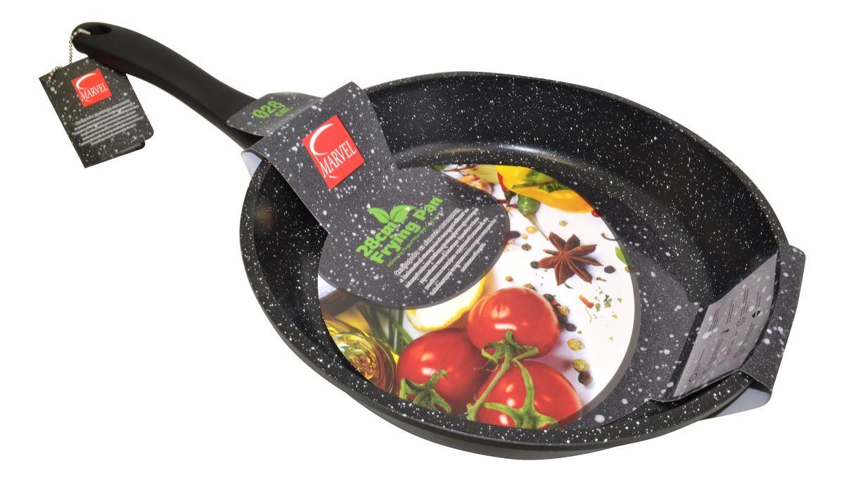 Сковорода Marvel Greblon Non-Stick, с антипригарным покрытием. Диаметр 28 см43288Сковорода Marvel Greblon Non-Stick выполнена из алюминия с антипригарным покрытием. Такое покрытие исключает прилипание и пригорание пищи к поверхности посуды, обеспечивает легкость мытья посуды, исключает необходимость использования большого количества масла, что способствует приготовлению здоровой пищи с пониженной калорийностью.Изделие оснащено пластиковой ручкой.Сковорода подходит для газовых, электрических и стеклокерамических плит.
