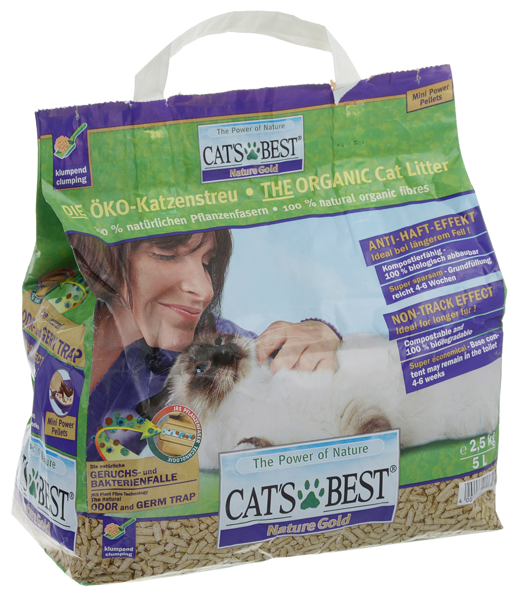 Наполнитель для кошачьего туалета Cats Best Nature Gold, древесный, 5 л cat s best nature gold