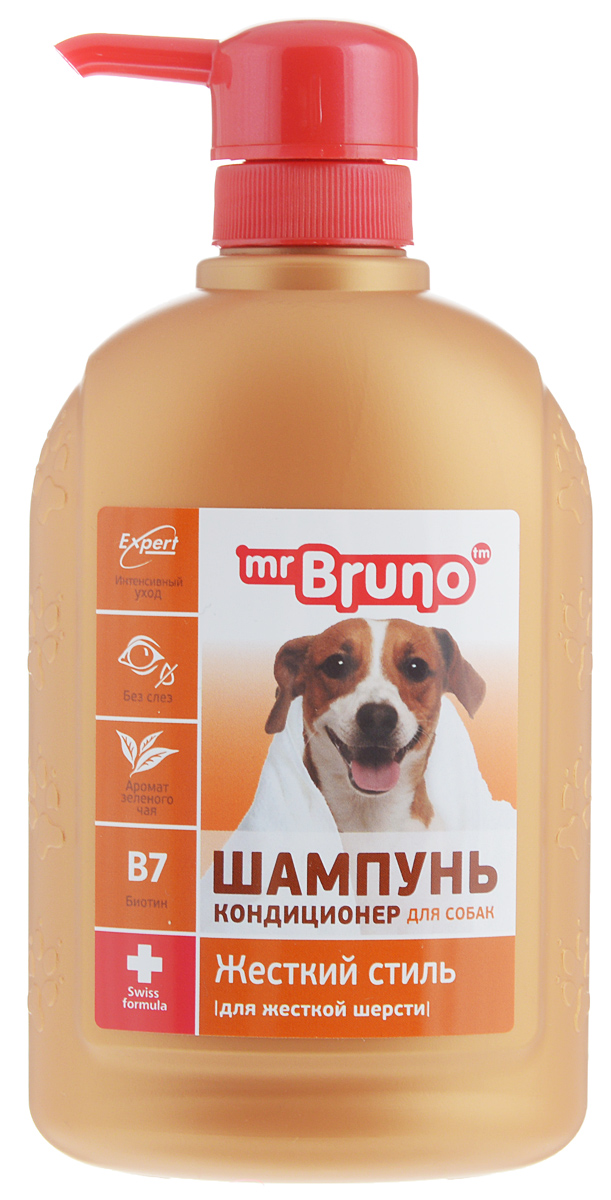 Шампунь-кондиционер для собак Mr. Bruno Жесткий стиль, для жесткой шерсти, 350 мл mr bruno mr bruno plus капли инсектоакарицидные для собак более 40 кг