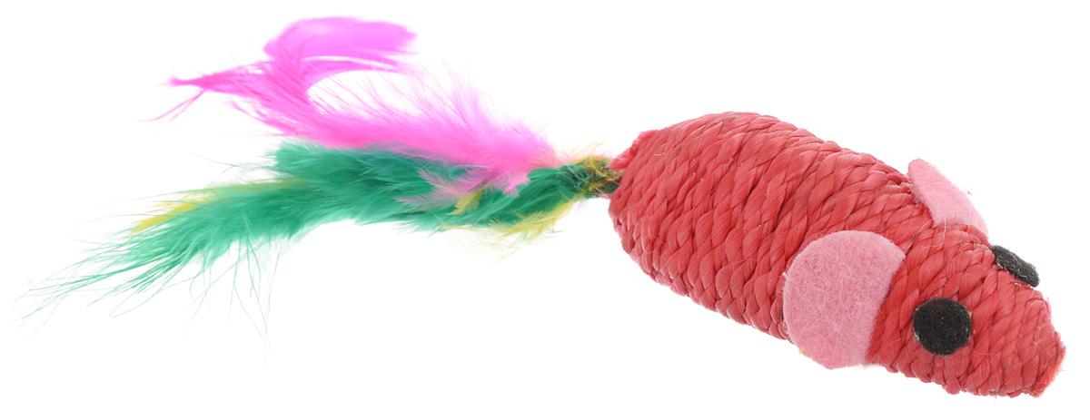Игрушка для животных Каскад Когтеточка-мышь, с перьями, цвет: красный, розовый, черный, длина 5,5 см игрушка для животных каскад удочка с пауком и перьями длина 58 5 см
