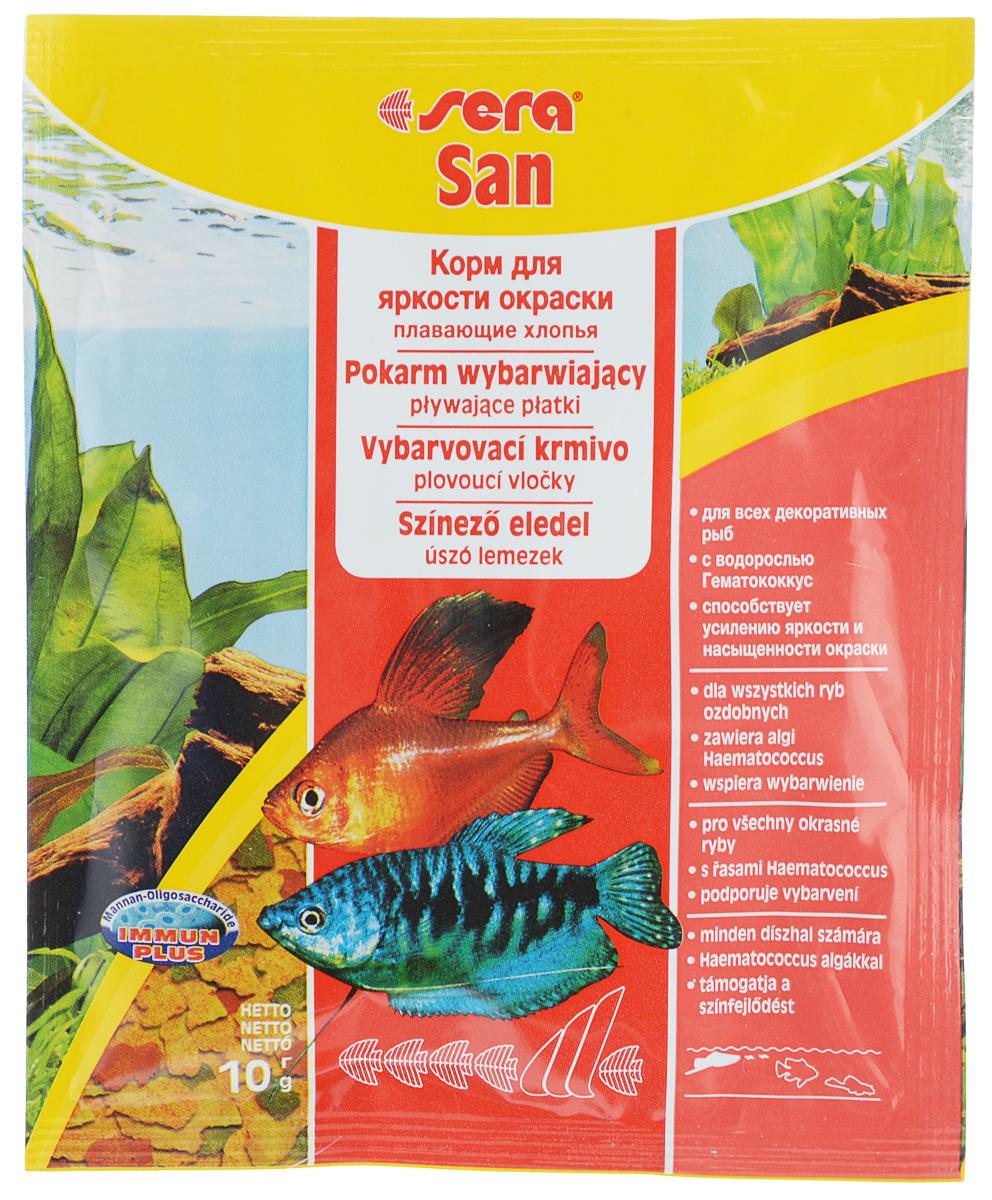 Корм для декоративных рыб Sera San, улучшение окраски, хлопья, 10 г15963Корм Sera San - корм для усиления яркости окраски всех видов рыб, кормящихся у поверхности воды. Состоит из хлопьев, произведенных путем бережной обработки сырья.Высококачественные ингредиенты корма, такие как водоросль Гаматококкус, усиливают яркость и насыщенность окраски рыб естественным путем. Хлопья не тонут долгое время, сохраняя свою форму, поэтому они поедаются полностью и не загрязняют воду.Полноценный состав из более чем 40 ингредиентов обеспечивает ежедневные потребности в питательных веществах типичного сообщества рыб. Товар сертифицирован.