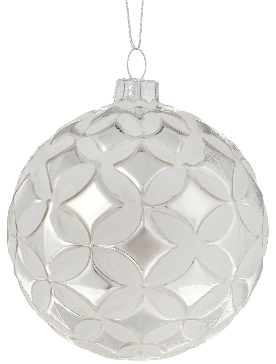 Украшение новогоднее подвесное Magic Time Серебряный сон, 8 см42338Новогоднее подвесное украшение Magic Time Серебряный сон выполнено из высококачественного стекла в форме шара и оформлено изящным рельефным рисунком. С помощью специальной петельки украшение можно повесить в любом понравившемся вам месте. Но, конечно, удачнее всего оно будет смотреться на праздничной елке. Елочная игрушка - символ Нового года. Она несет в себе волшебство и красоту праздника. Создайте в своем доме атмосферу веселья и радости, украшая новогоднюю елку нарядными игрушками, которые будут из года в год накапливать теплоту воспоминаний.Материал: стекло;Диаметр: 8 см.