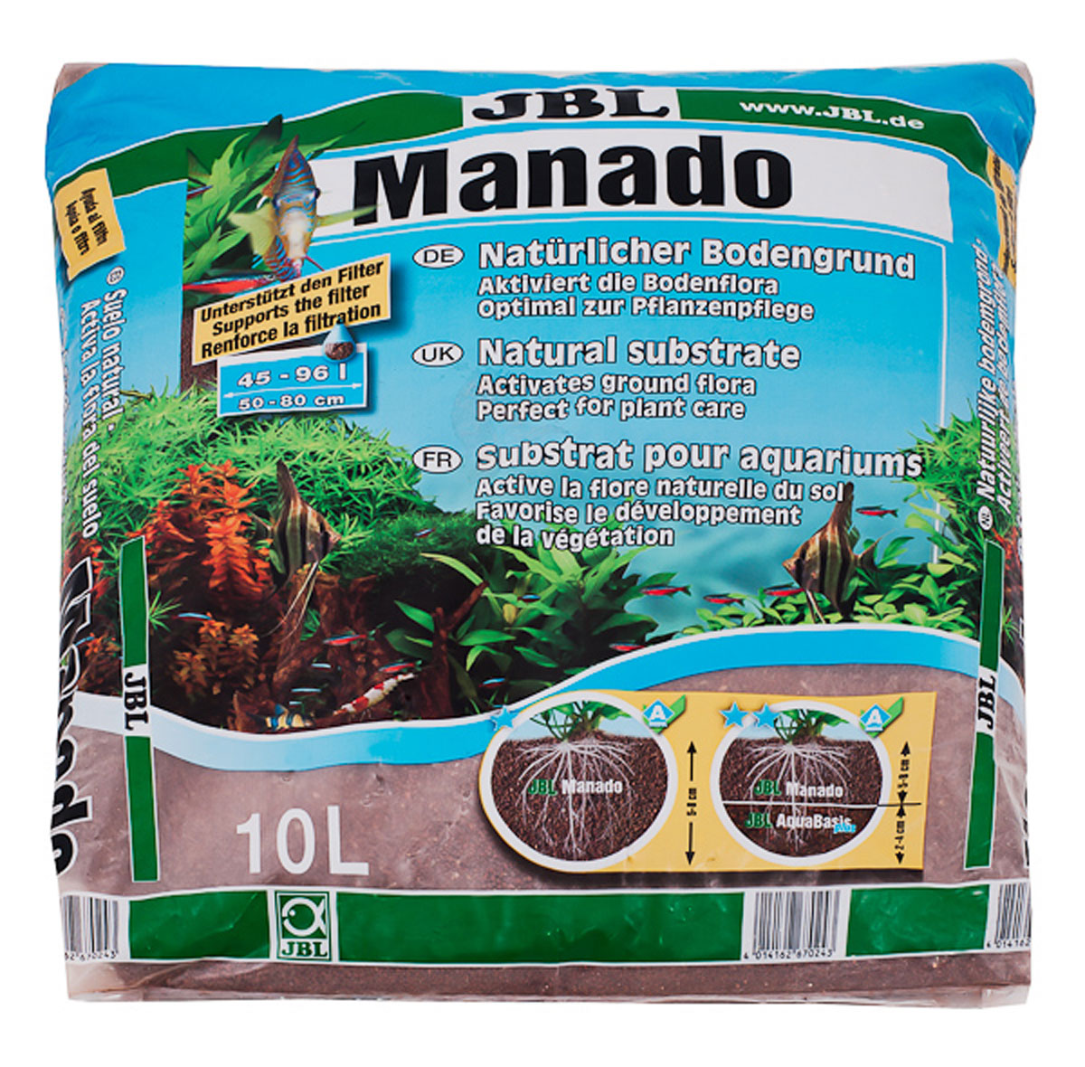 Питательный грунт JBL Manado, улучшающий качество воды и стимулирующий рост растений,цвет: красно-коричневый (латеритной почвы), 10 л грунт гф 021 красно коричневый krafor 0 8кг