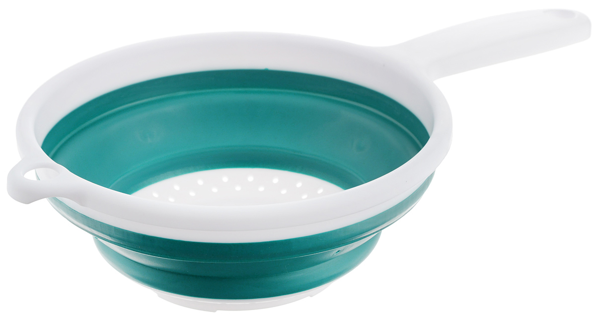 Дуршлаг складной Apollo, цвет: белый, зеленый, диаметр 19,5 смCLD-01_белый, зеленыйСкладной дуршлаг Apollo станет полезным приобретением для вашей кухни.Он изготовлен из высококачественного пищевого силикона и пластика. Дуршлагоснащен удобной эргономичной ручкой со специальным отверстием дляподвешивания. Изделие прекрасно подходит для процеживания, ополаскивания истекания макарон, овощей, фруктов. Дуршлаг компактно складывается, что делаетего удобным для хранения. Не рекомендуется мыть в посудомоечной машине. Диаметр (по верхнему краю): 19,5 см. Максимальная высота: 8 см. Минимальная высота: 3 см. Длина ручки: 13 см.