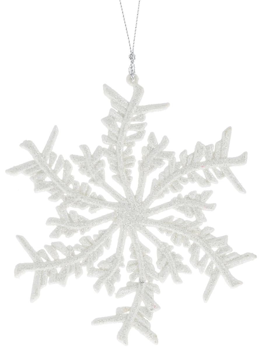 Украшение новогоднее подвесное Magic Time Белая снежинка, 13,5 х 13 см42099/75087Новогоднее подвесное украшение Magic Time Белая снежинка выполнено из полипропилена в виде снежинки и украшено блестками. С помощью специальной петельки украшение можно повесить в любом понравившемся вам месте. Но, конечно, удачнее всего оно будет смотреться на праздничной елке.Елочная игрушка - символ Нового года. Она несет в себе волшебство и красоту праздника. Создайте в своем доме атмосферу веселья и радости, украшая новогоднюю елку нарядными игрушками, которые будут из года в год накапливать теплоту воспоминаний.Материал: полипропилен.Размер: 13,5 х 13 см.