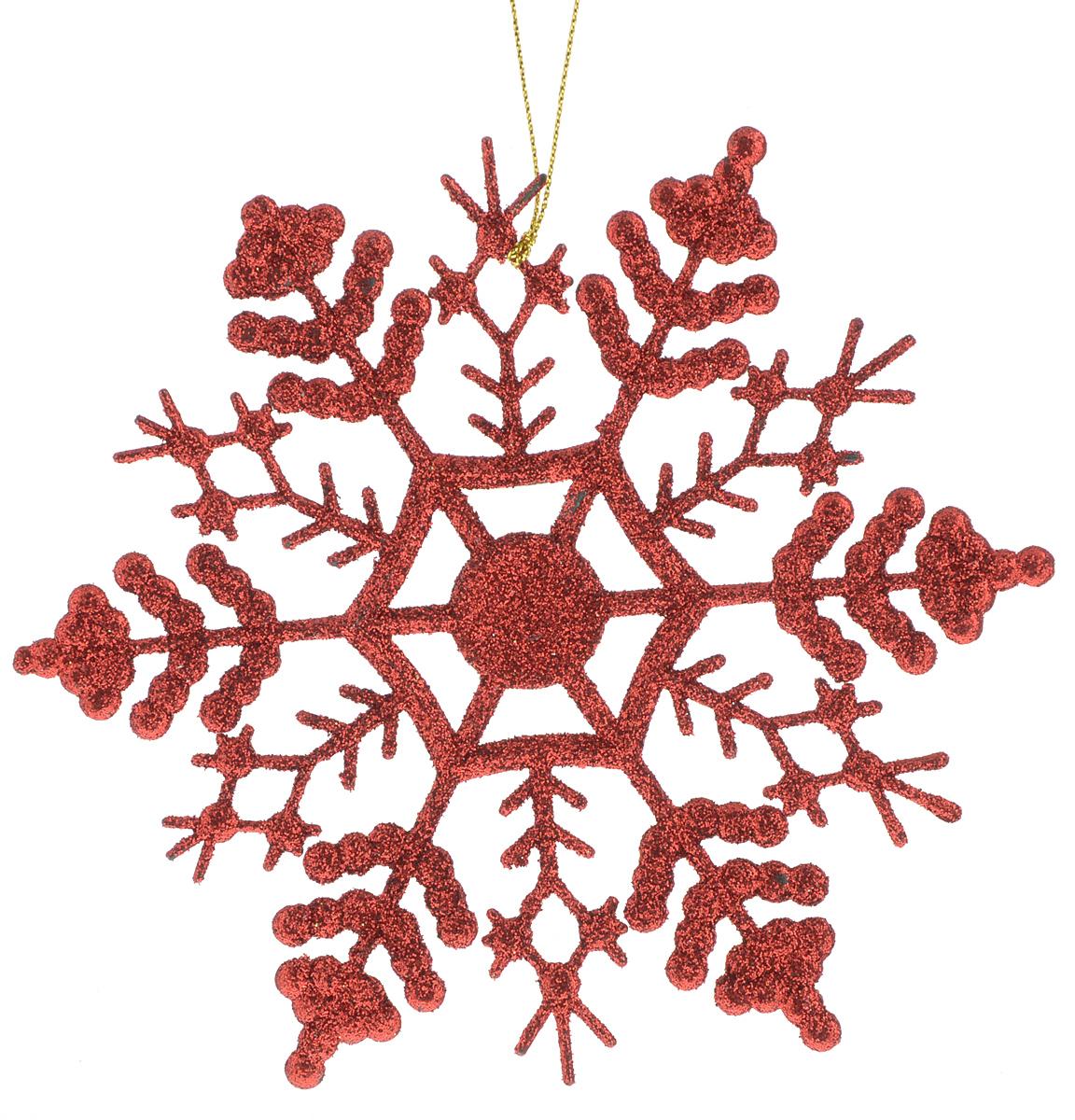 Украшение новогоднее подвесное Magic Time Снежинка-паутинка красная, 16,5 х 16,5 см38728/75097Новогоднее подвесное украшение Magic Time Снежинка-паутинка красная выполнено из полипропилена в виде снежинки и украшено блестками. С помощью специальной петельки украшение можно повесить в любом понравившемся вам месте. Но, конечно, удачнее всего оно будет смотреться на праздничной елке.Елочная игрушка - символ Нового года. Она несет в себе волшебство и красоту праздника. Создайте в своем доме атмосферу веселья и радости, украшая новогоднюю елку нарядными игрушками, которые будут из года в год накапливать теплоту воспоминаний.Материал: полипропилен.Размер: 16,5 х 16,5 см.