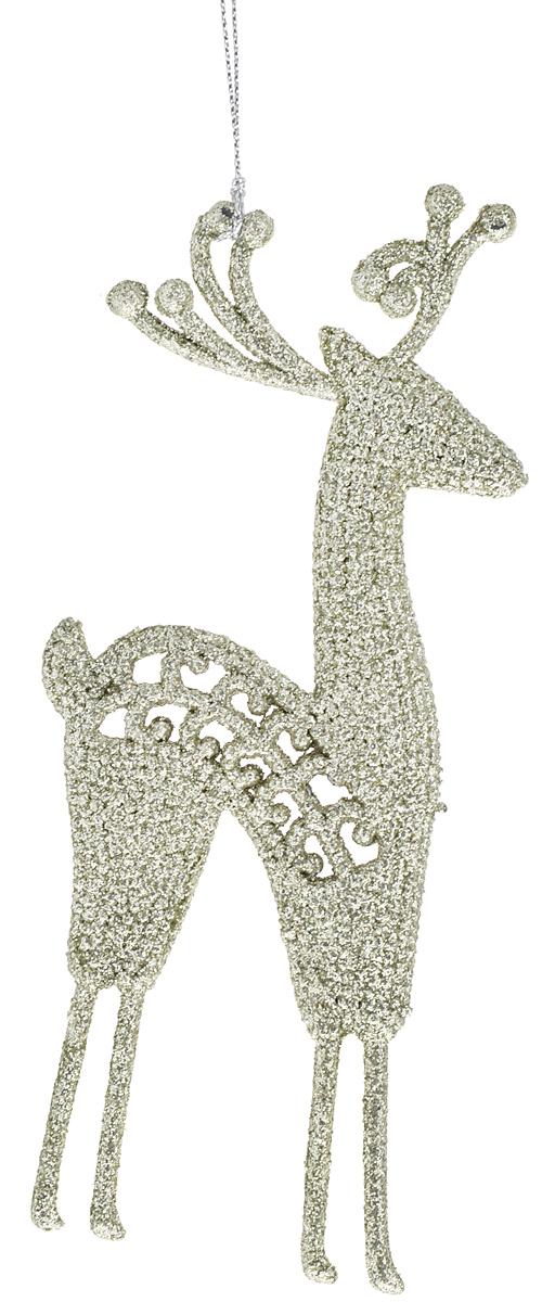 Украшение новогоднее подвесное Magic Time Золотой олень, 18 х 7,5 см38744Новогоднее подвесное украшение Magic Time Золотой олень выполнено из полипропилена в виде оленя и украшено блестками. С помощью специальной петельки украшение можно повесить в любом понравившемся вам месте. Но, конечно, удачнее всего оно будет смотреться на праздничной елке.Елочная игрушка - символ Нового года. Она несет в себе волшебство и красоту праздника. Создайте в своем доме атмосферу веселья и радости, украшаяновогоднюю елку нарядными игрушками, которые будут из года в год накапливать теплоту воспоминаний.Материал: полипропилен. Размер: 18 х 7,5 см.