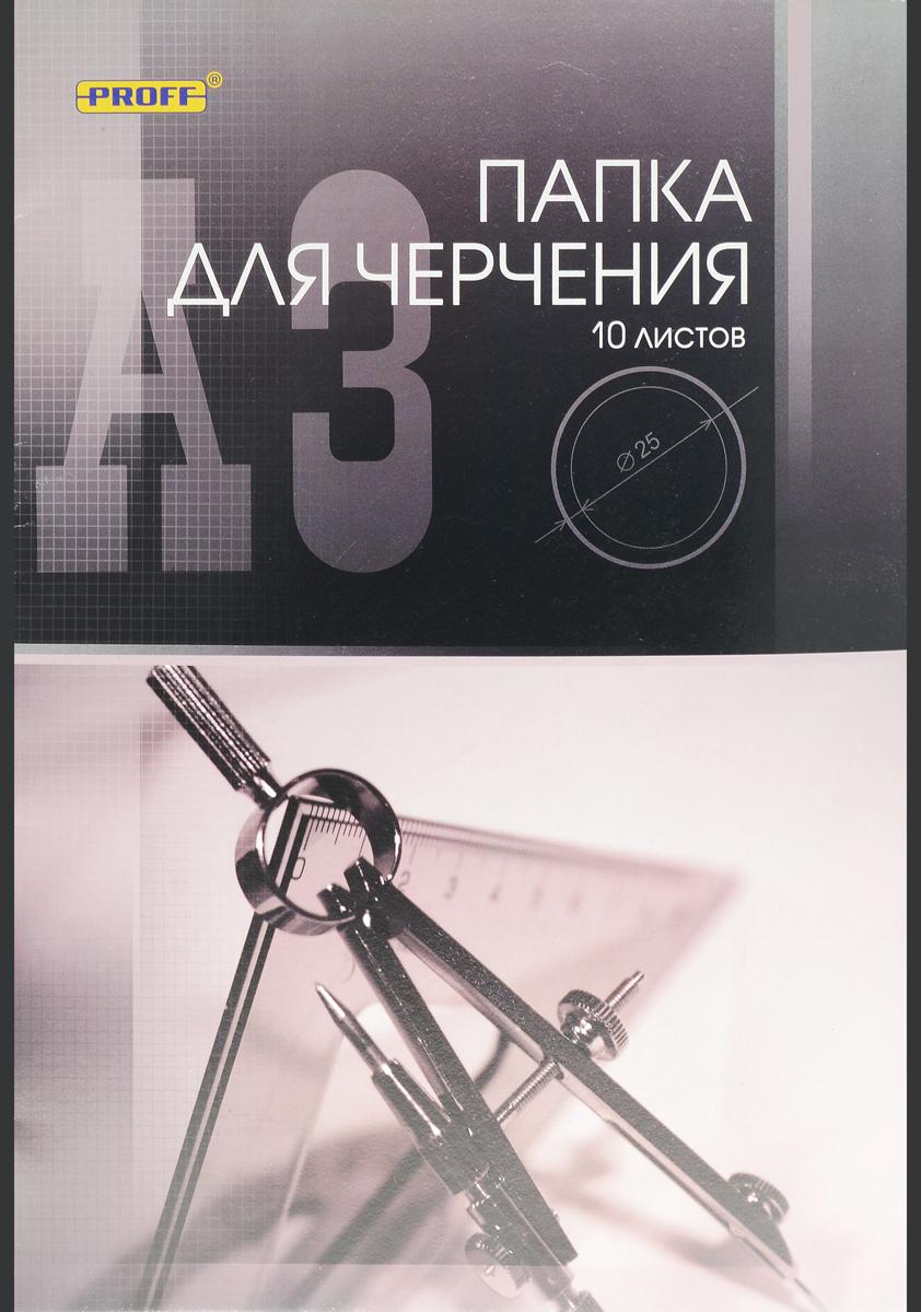 Папка для черчения Proff, 10 листов, формат А3. ПЧA31007 003ПЧA31007 003Учащиеся технических учебных заведений по достоинству оценят высокое качество этой форматной бумаги для черчения. Бумага устойчива к истиранию, имеет верхний проклеенный слой. Может также использоваться для карандашных набросков или для рисования акварелью в технике по сухому. 10 листов бумаги упакованы в картонную папку.