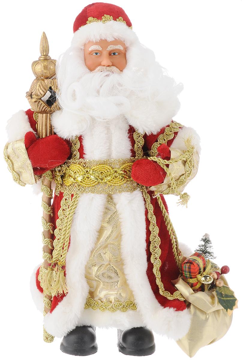 """Новогодняя декоративная фигурка """"Дед мороз в красном костюме"""" прекрасно  подойдет для праздничного декора вашего дома. Сувенир изготовлен из  высококачественных материалов. Фигурка выполнена в виде деда Мороза с посохом и  мешком подарков. Одежда из текстиля украшена красивым узором. Такая оригинальная  фигурка оформит интерьер вашего дома или офиса в преддверии Нового года.  Оригинальный дизайн и красочное исполнение создадут праздничное настроение. Кроме  того, это отличный вариант подарка для ваших близких и друзей. Высота фигурки: 30 см."""