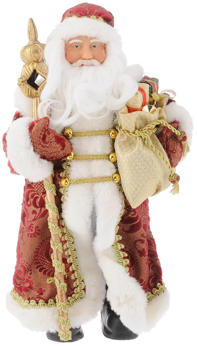 Фигурка новогодняя Феникс-Презент Дед мороз в бордовом костюме, 30см39096/75904Новогодняя декоративная фигурка Дед мороз в бордовом костюме прекрасно подойдет для праздничного декора вашего дома. Сувенир изготовлен из высококачественных материалов. Фигурка выполнена в виде деда Мороза с посохом и мешком подарков. Одежда из текстиля украшена красивым узором. Такая оригинальная фигурка оформит интерьер вашего дома или офиса в преддверии Нового года. Оригинальный дизайн и красочное исполнение создадут праздничное настроение. Кроме того, это отличный вариант подарка для ваших близких и друзей.Высота фигурки: 30 см.