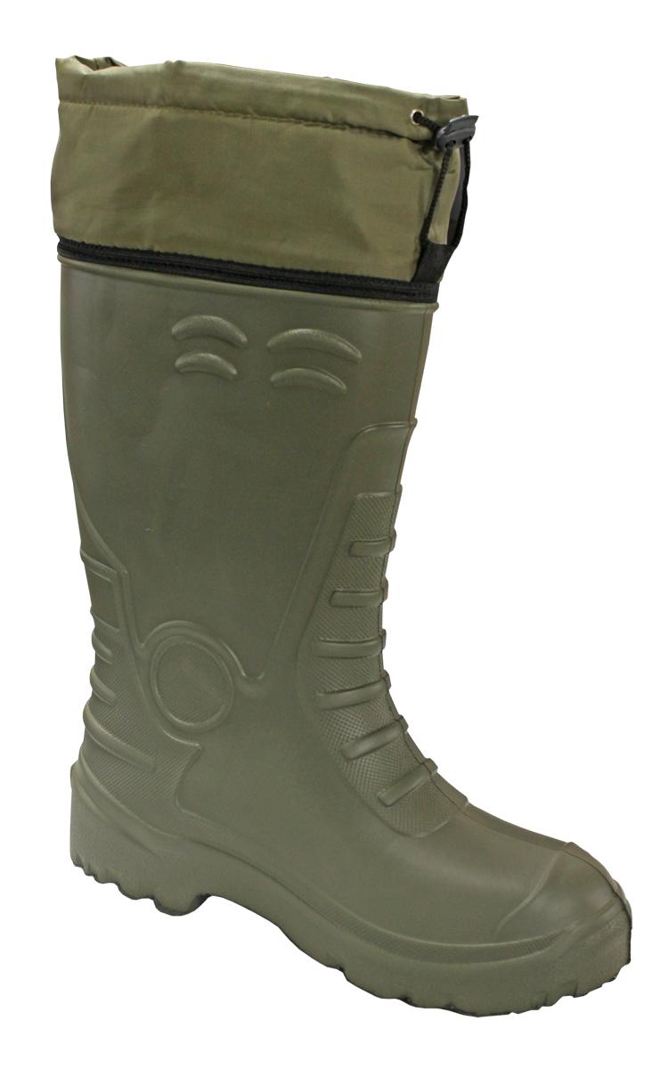 Сапоги зимние мужские EVA Shoes CLASS-AS ЭВА (-40), цвет: олива. Размер 43/4459237Универсальные сапоги для охоты и рыбалки зимой, весной или осенью. Выполнены из запатентованного материала ЭВА с примесью каучука, не теряют эластичность и сохраняют тепло даже при -40°C. Это легкий и упругий материал, имеющий хорошие амортизирующие свойства, устойчивый к растворителям и маслам. Имеют свободное голенище и водонепроницаемую манжету с кулиской. Съемный фольгированный пятислойный вкладыш отлично сохраняет тепло. Удобная колодка и легкий вес обеспечивают комфорт и легкость движения. За счет усиленной пятки снижается вероятность механических повреждений.